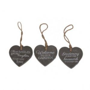 Hanging heart decorations with garden text